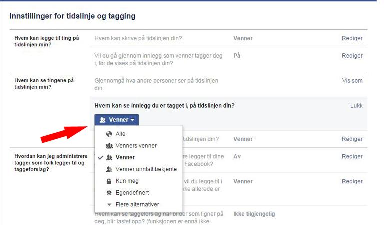 skjul venner på facebook