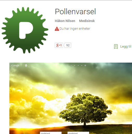 Pollenvarsel Android